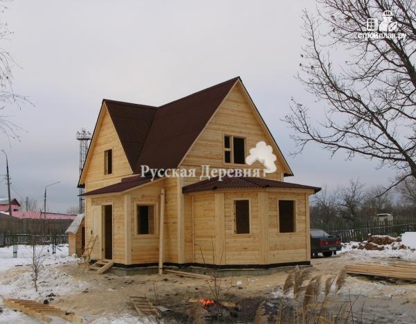 Фото 3: проект дом 6х7 с эркером 2х4 и террасой 2х7, брусовая мансарда