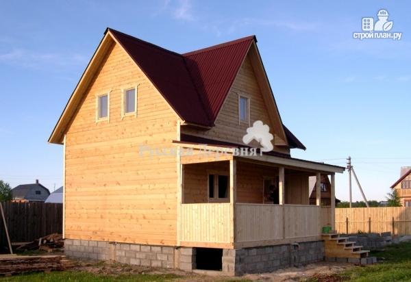 Фото 8: проект дом 6х7 с эркером 2х4 и террасой 2х7, брусовая мансарда
