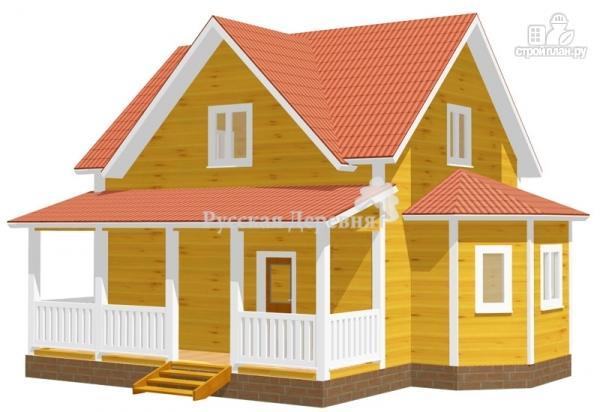 Фото: проект дом 6х7 с эркером 2х4 и террасой 2х7, брусовая мансарда