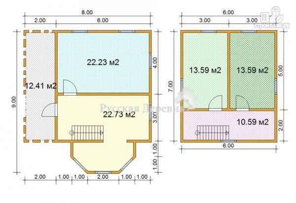 Фото 6: проект дом 6х7 с эркером 2х4 и террасой 2х7, брусовая мансарда