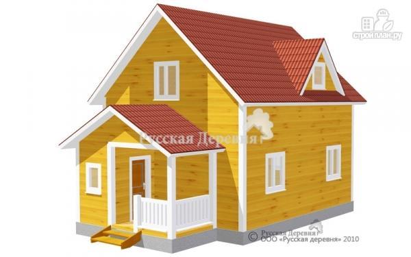 Фото: проект дом с мансардой из бруса и крыльцом
