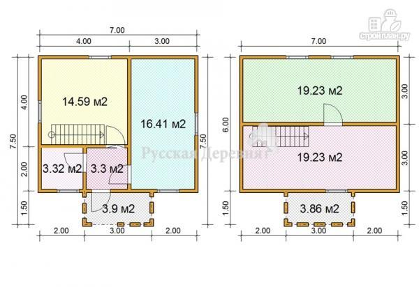 Фото 5: проект дом 7х6 с крыльцом 3х1,5 и балконом
