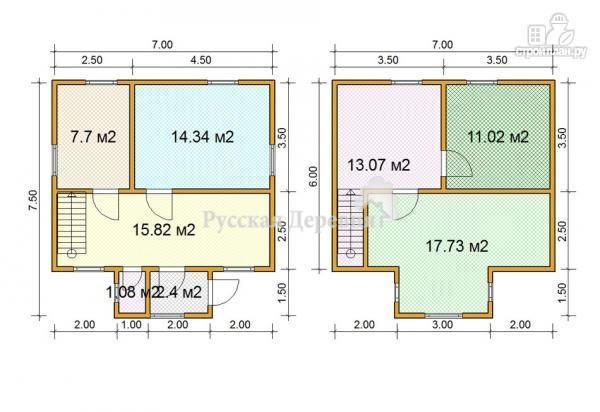 Фото 5: проект дом 7х6 из бруса 100х150 мм естественной влажности