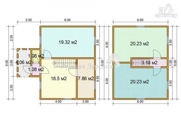 Фото 5: проект двухэтажный коттедж 6х8 с крыльцом 1,5х3