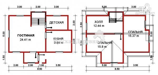 Фото 2: проект дом 8,5х5 с крыльцом 1х1,5 и сенями 2,х1,5