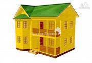 Фото: двухэтажный дом из профилированного бруса, с эркером, террасой и балконом