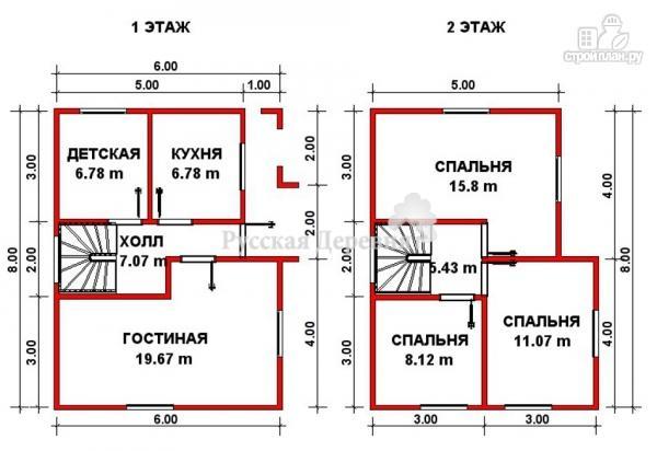 Фото 2: проект коттедж двухэтажный с крыльцом 1х4