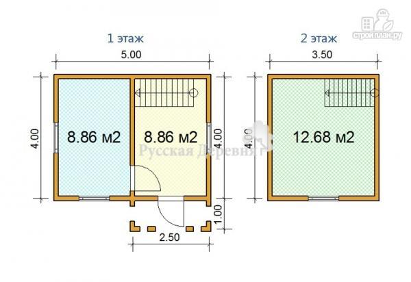 Фото 5: проект дачный домик 5х4 с крыльцом 2,5х1, мансардный, двухкомнатный