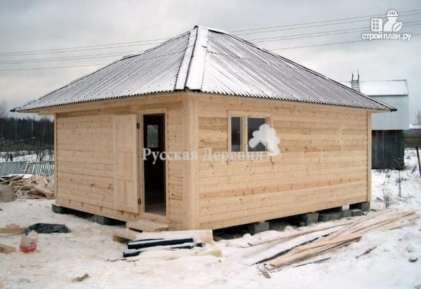 Фото 3: проект баня из профилированного бруса с эркером и вальмовой крышей