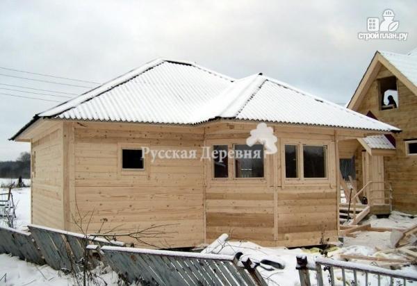 Фото 2: проект баня из профилированного бруса с эркером и вальмовой крышей