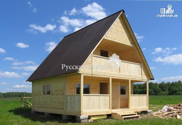 Фото 2: проект баня 6х6 из профилированного бруса с террасой, мансардой и балконом