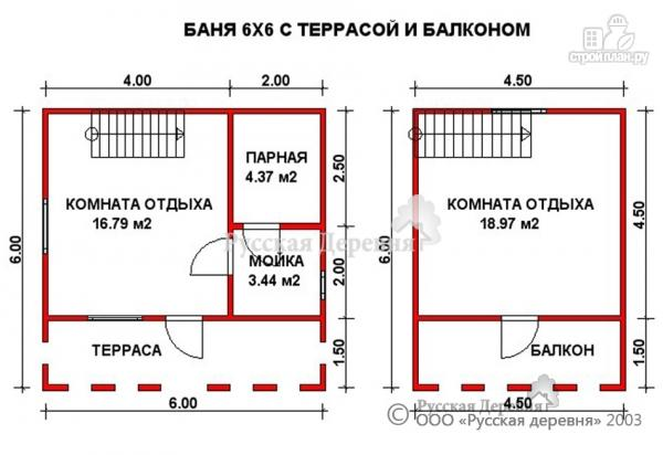 Фото 3: проект баня 6х6 из профилированного бруса с террасой, мансардой и балконом