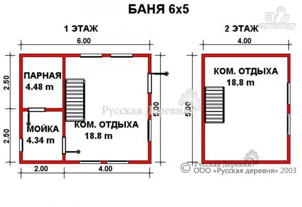 Фото 2: проект двухэтажная баня 5х6 из профилированного бруса