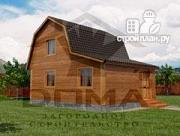 Проект деревянный дом с мансардой и верандой