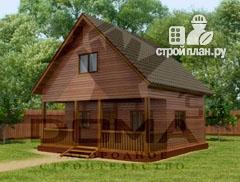 Фото: проект деревянный дом с террасой и мансардой