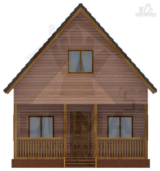 Фото 2: проект деревянный дом с террасой и мансардой