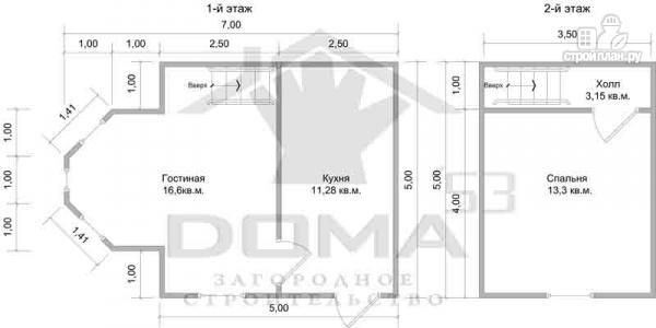 Фото 6: проект деревянный дом 5х5 с эркером