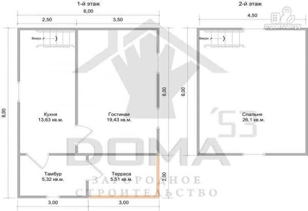 Фото 6: проект дом 6х8 из бруса с мансардной спальней