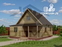 Фото: проект дом 6х8 из бруса с мансардной спальней