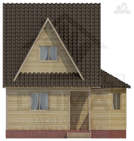 Фото 2: проект деревянный дом с гостиной-студией и эркером