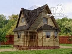 Фото: проект деревянный дом с гостиной-студией и эркером