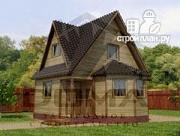 Фото: деревянный дом с гостиной-студией и эркером