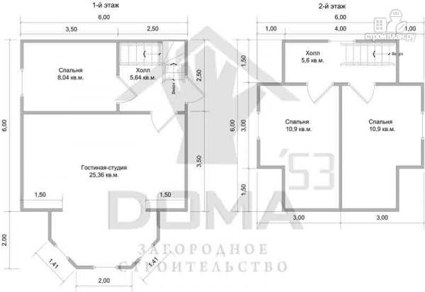 Фото 6: проект деревянный дом 6х6 с эркером