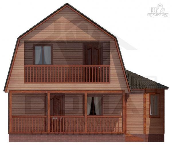 Фото 2: проект деревянный дом с балконом и террасой