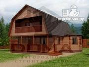 Проект деревянный дом с балконом и террасой
