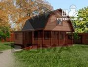 Проект деревянный дом с угловой террасой
