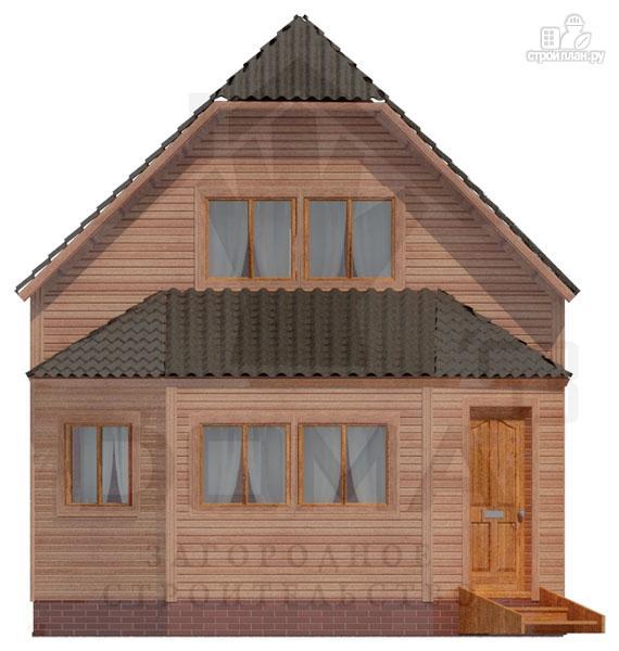 Фото 2: проект дом из профилированного бруса с верандой b большой гостиной