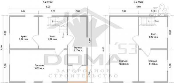 Фото 6: проект двухэтажный деревянный дом 6х8