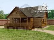 Фото: деревянный дом 9х9 с террасой