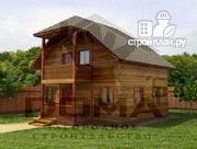 Проект деревянный дом с балконом и крыльцом