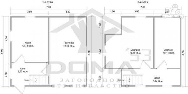 Фото 6: проект деревянный дом с мансардой и тремя фронтонами