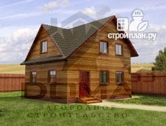 Фото: проект деревянный дом с мансардой и тремя фронтонами