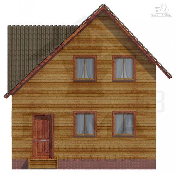 Фото 2: проект деревянный дом с мансардой и тремя фронтонами