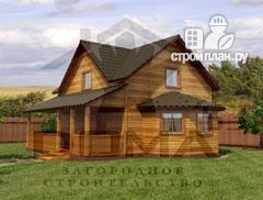 Фото: проект деревянный дом с террасой и эркером