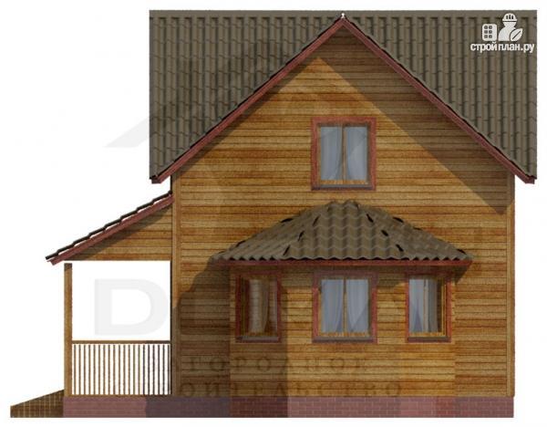 Фото 2: проект деревянный дом с террасой и эркером