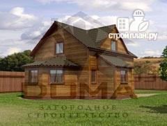 Фото: проект деревянный дом со столовой в эркере