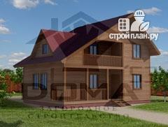 Фото: проект дом из профилированного бруса с террасой и балконом
