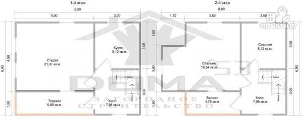 Фото 6: проект дом из профилированного бруса с террасой и балконом