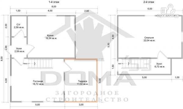 Фото 6: проект деревянный дом 8х8 с террасой