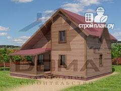 Фото: проект деревянный дом 8х8 с террасой