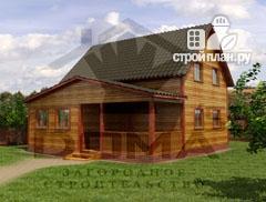 Фото: проект деревянный дом из профилированного бруса с террасой