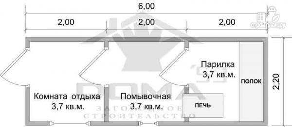 Фото 6: проект одноэтажная баня из бруса для узкого участка