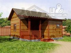 Фото: проект одноэтажная деревянная баня с крыльцом