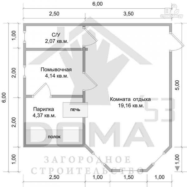Фото 6: проект баня 6х6 с эркером и просторной комнатой отдыха