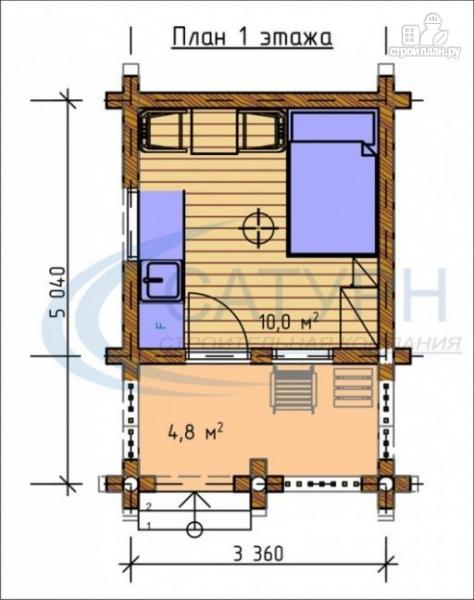Фото 2: проект небольшой уютный деревянный  дом с террасой