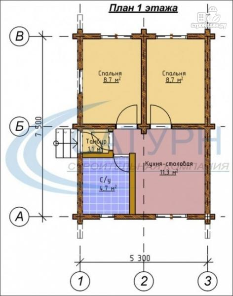 Фото 2: проект одноэтажный деревянный дом